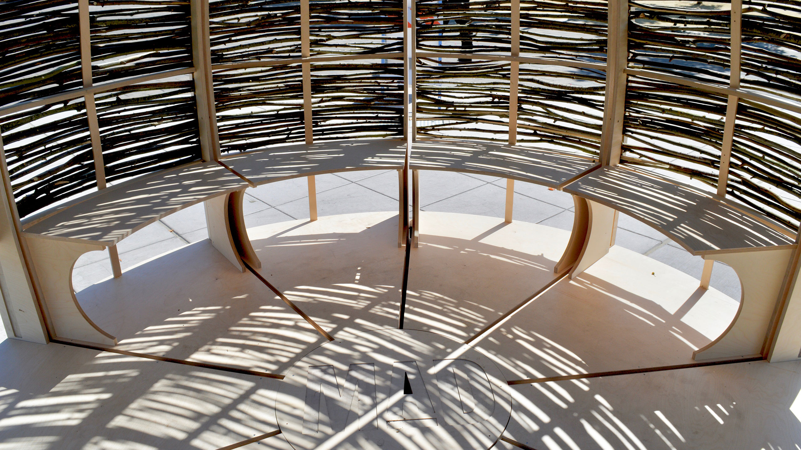 Architecture-in-balance-with-nature-Santa-Rosa-plywood-seating-structure-CNC-cut