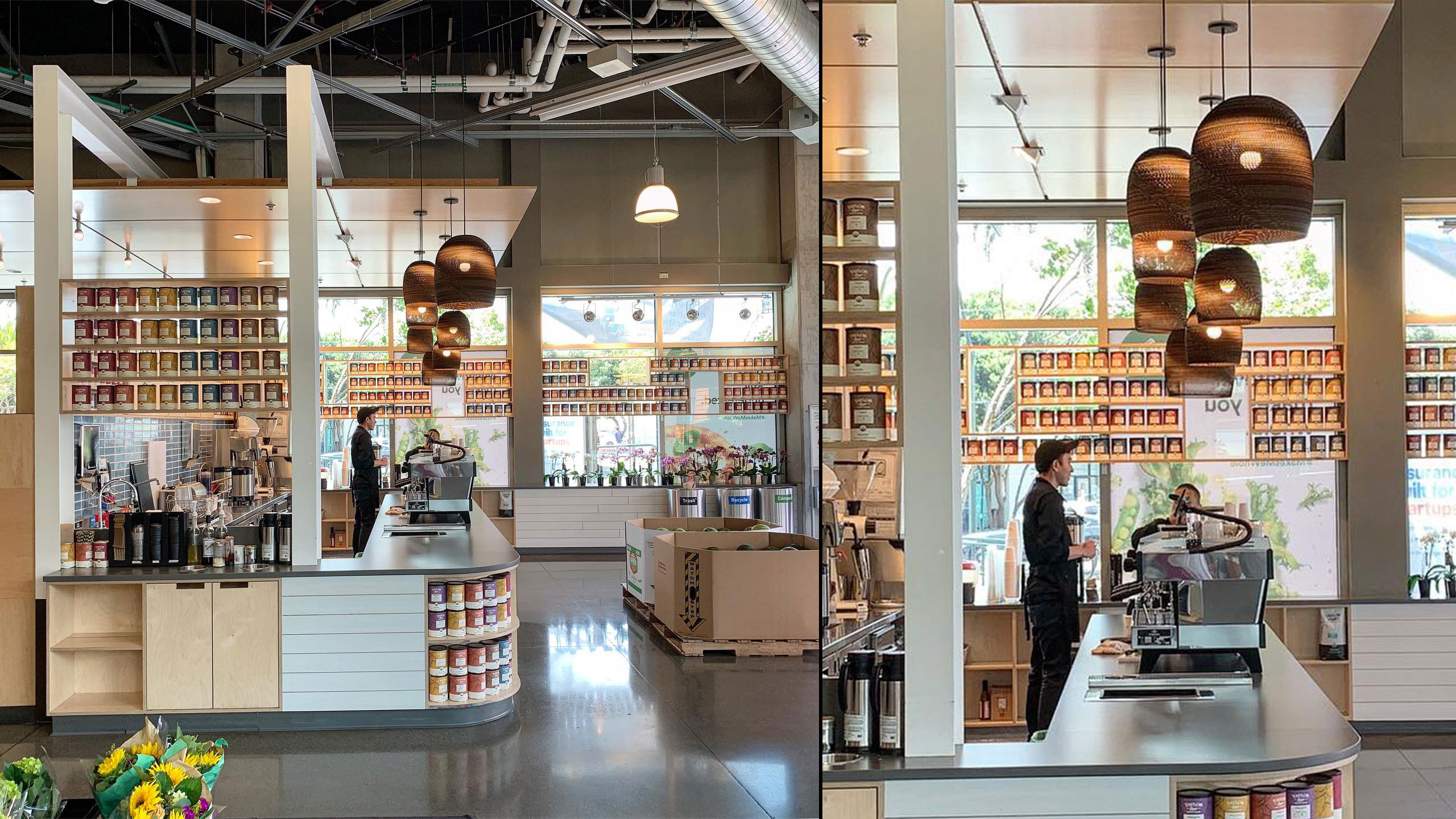 offee-Shop-Design-Taylor-Lane-1-Counter-with-dropped-ceiling-brown-light-fixtures-and-open-shelving