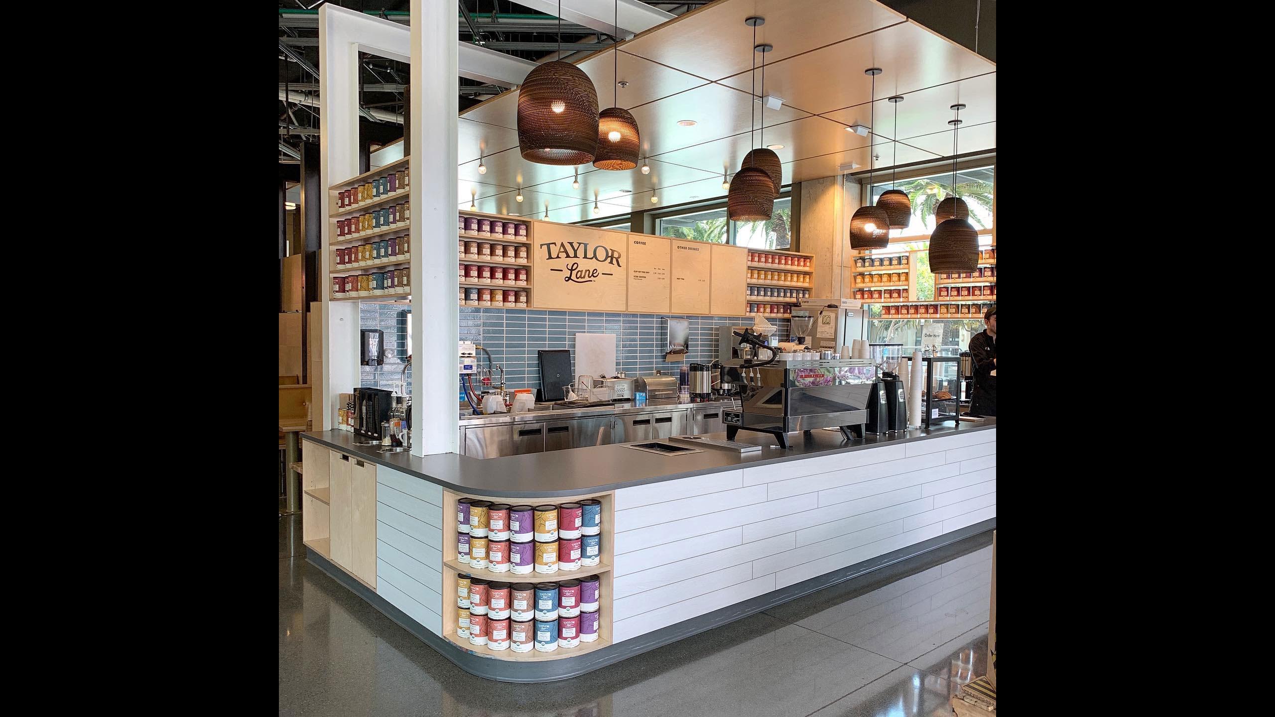 Coffee-Shop-Design-Taylor-Lane-2-Coffee-Counter-grey-countertop-blue-and-white-tile
