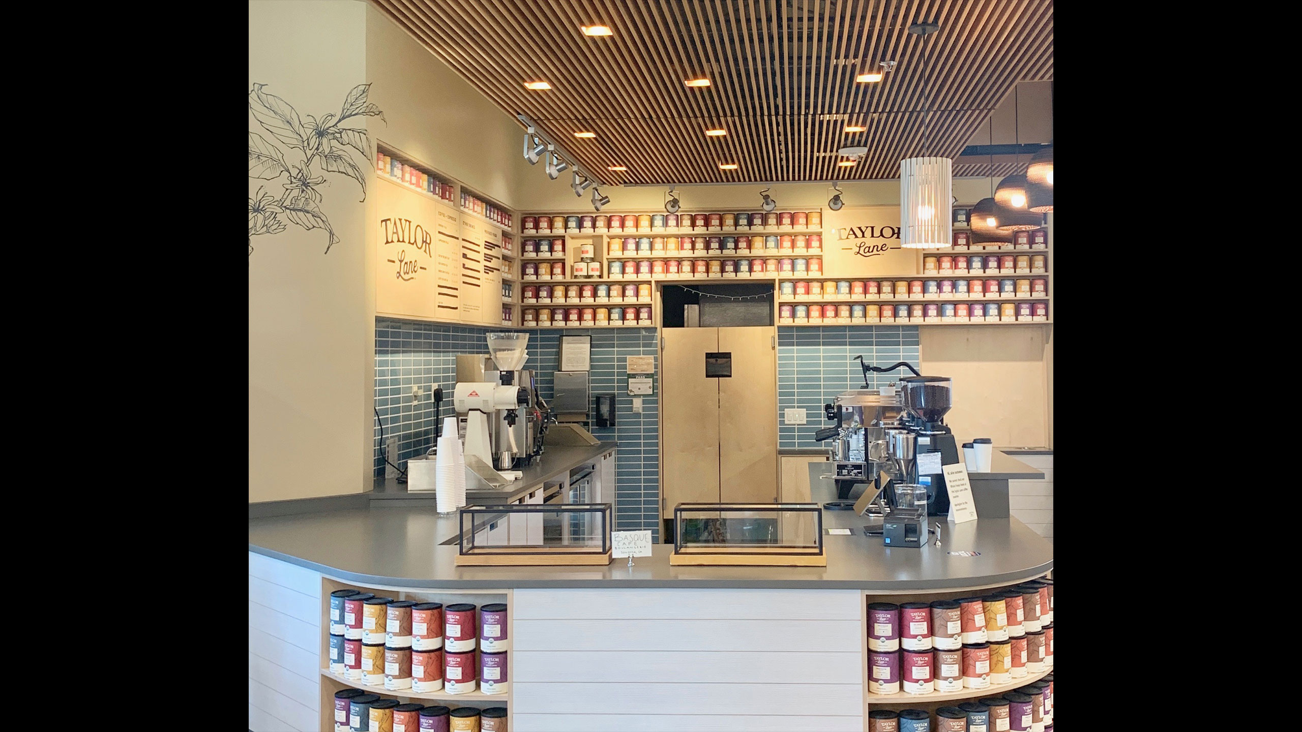 Coffee-Shop-Design-Taylor-Lane-2-Coffee-built-in-shelving-and-wall-paper