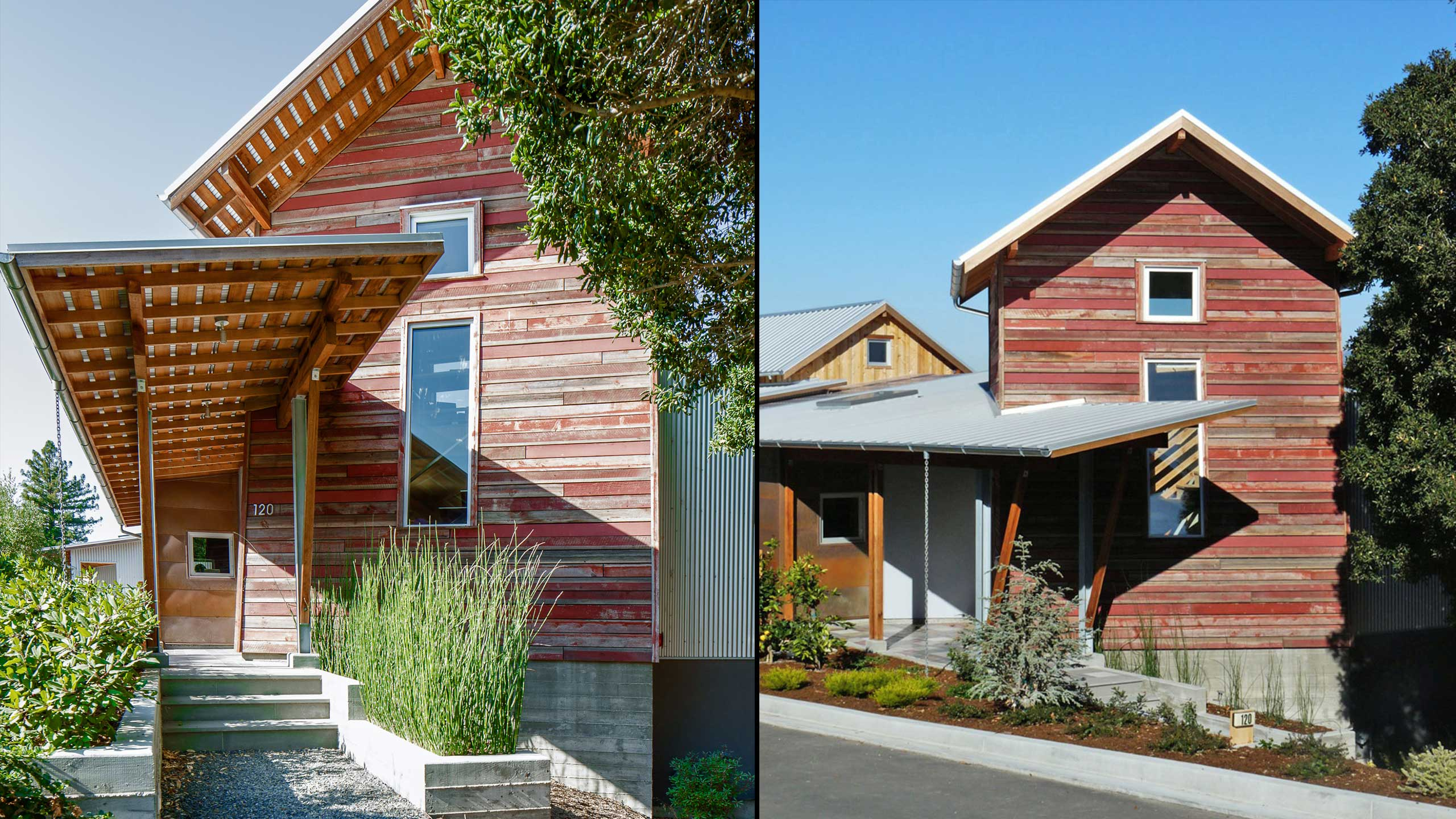 Custom-Home-Sonoma-County-MiJi-Corten-Steel-Facade-and-Tower-with-red-wood-facade