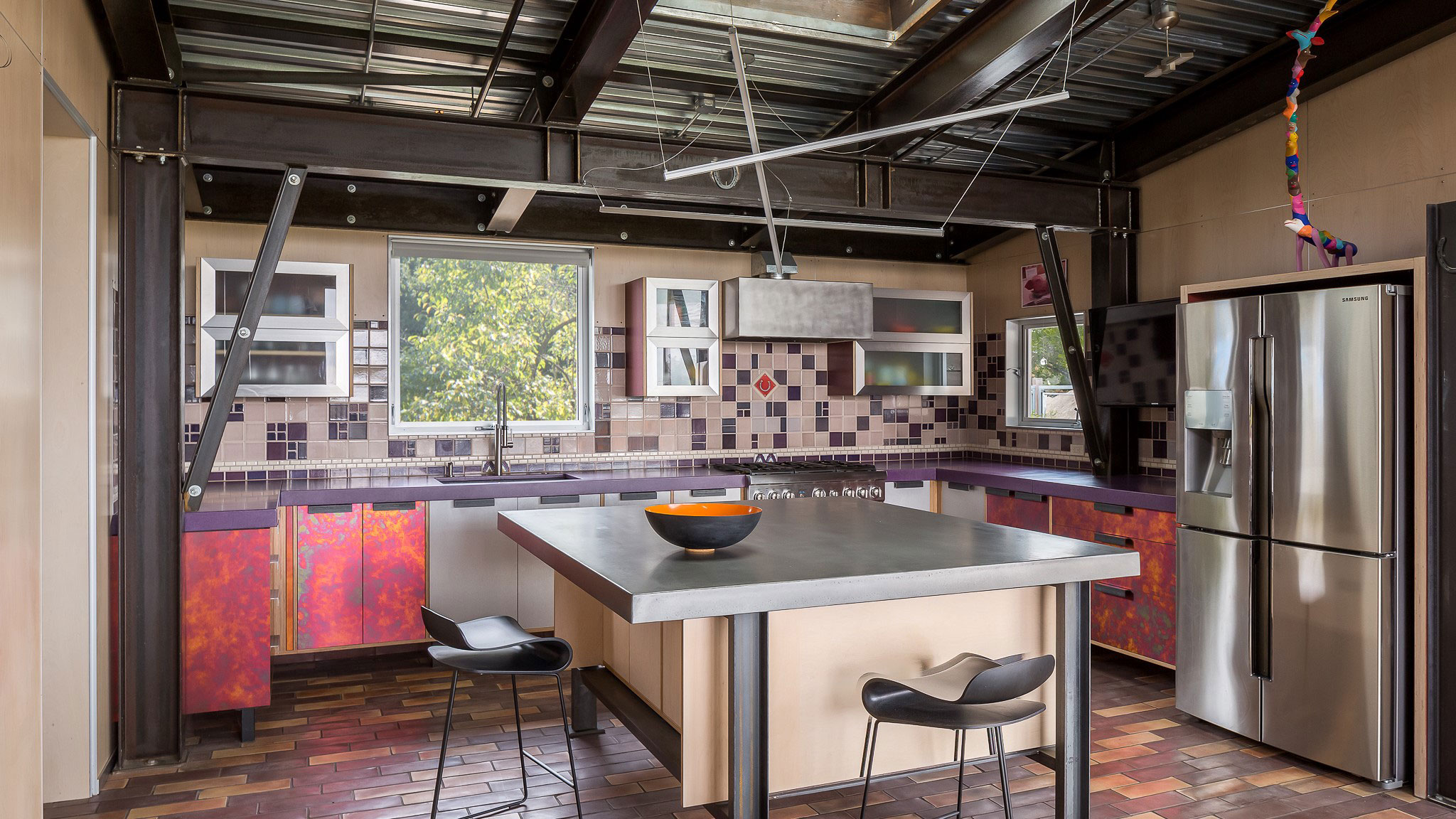 Custom-Home-Sonoma-County-MiJi-County-Kitchen-with-island-and-finishes-in-fun-colors