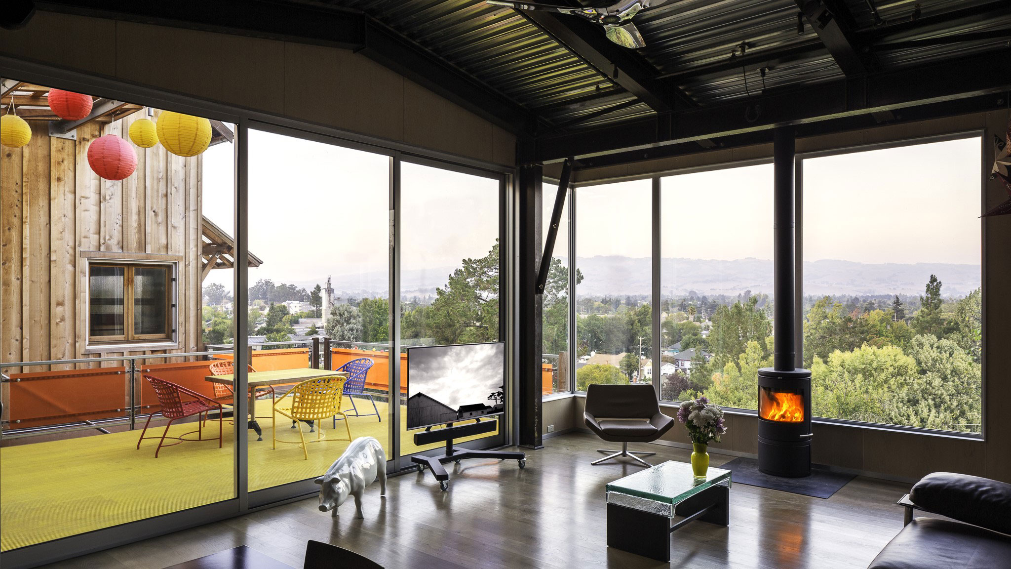 Custom-Home-Sonoma-County-MiJi-Living-Room-of-sloped-infill-site