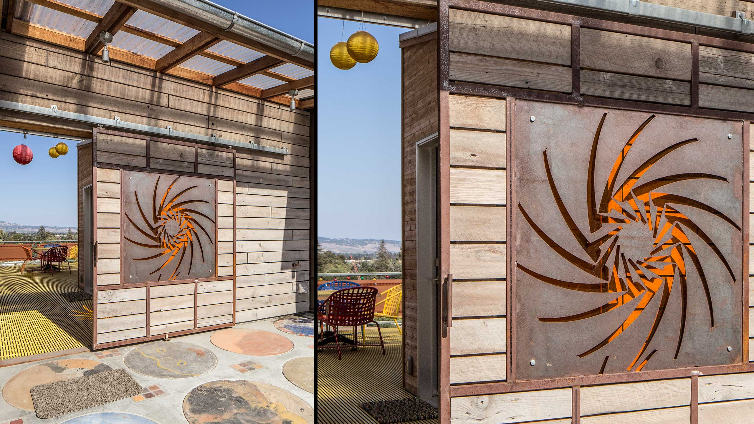 Custom-Home-Sonoma-County-MiJi-Terrace-with-barn-door-and-reclaimed-building-materials