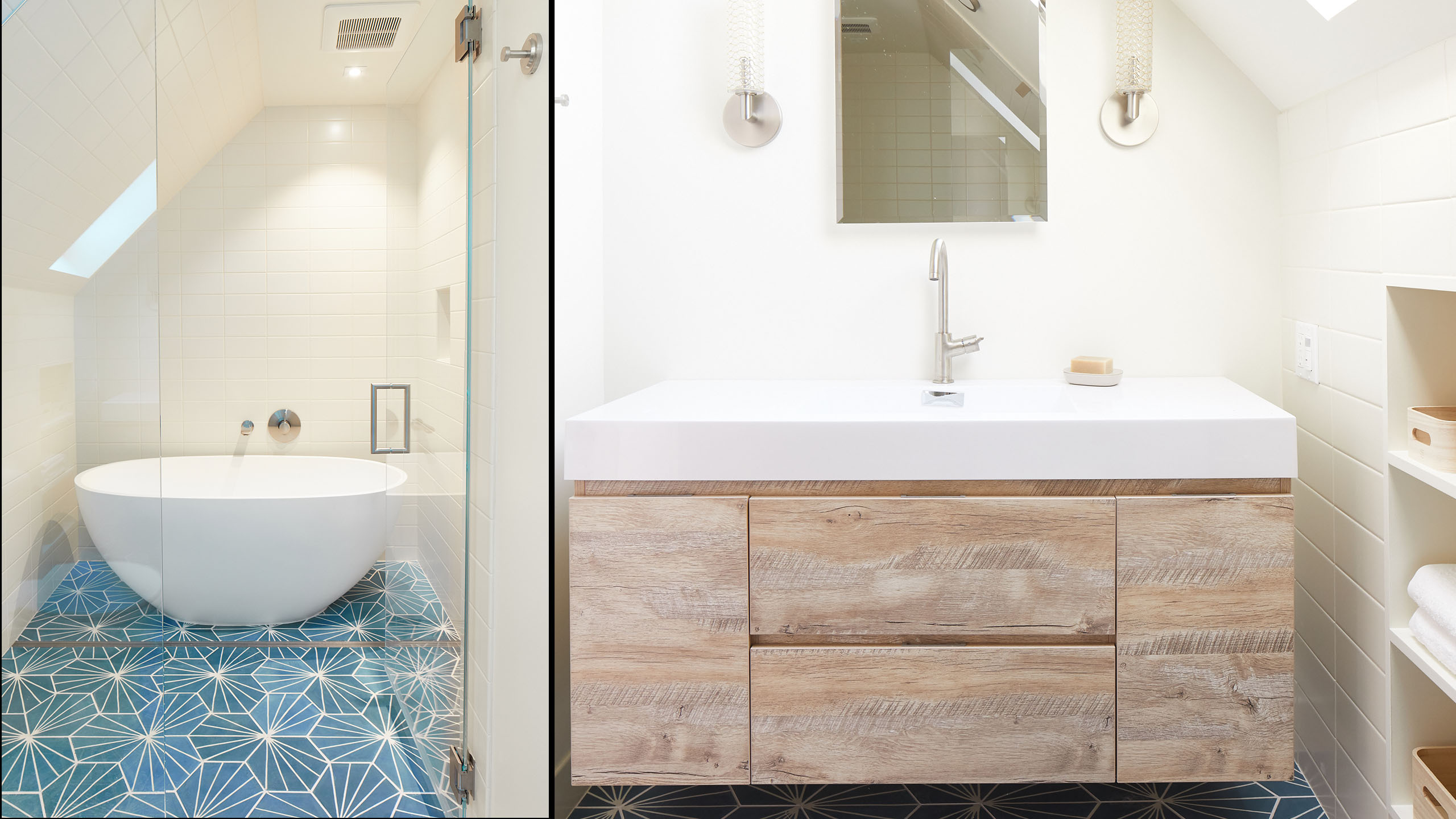 Farmhouse Interior Design Sonoma County 13 bath with contemporary blue tile wood cabinetry freestanding tub