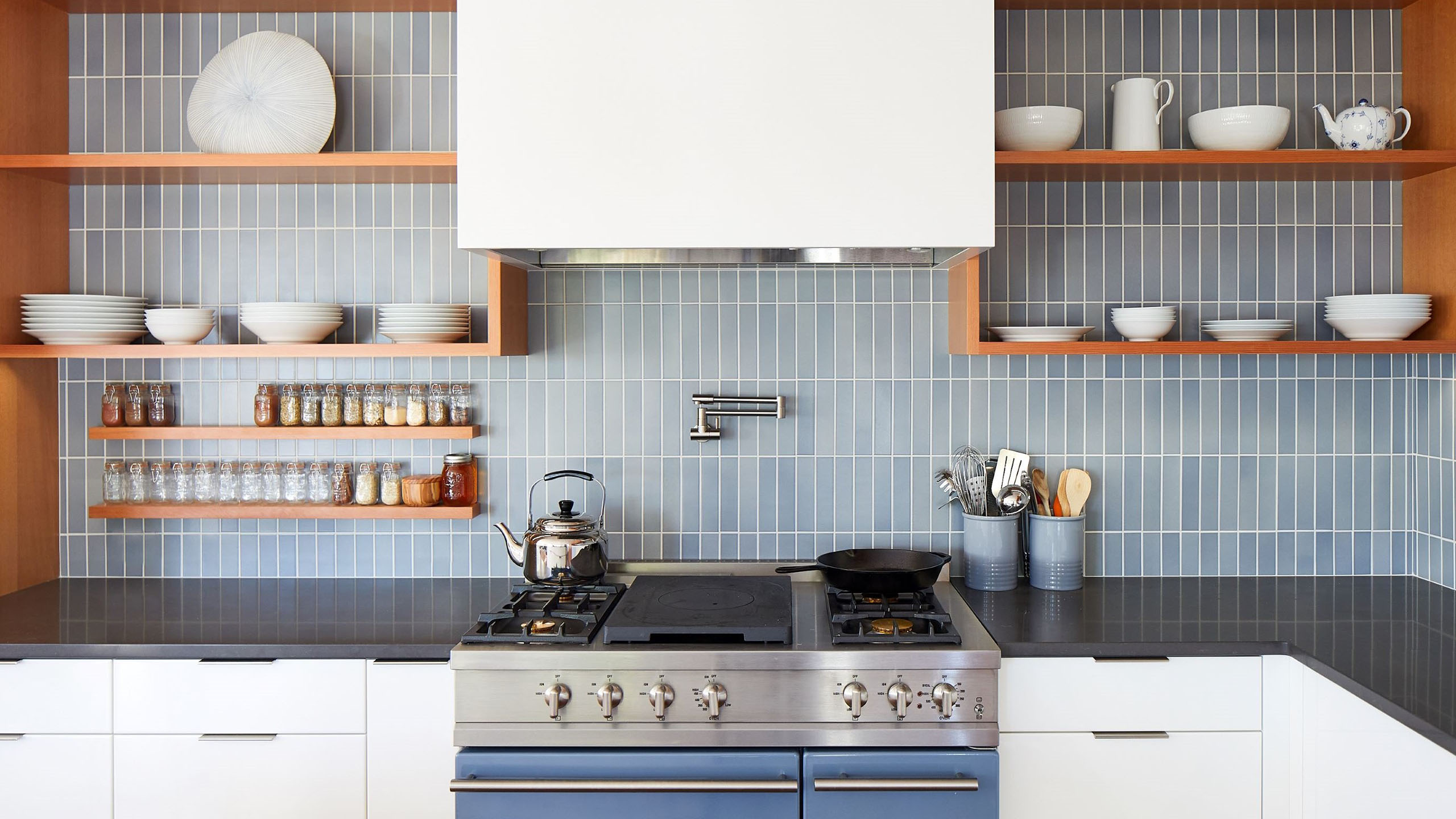 Farmhouse Interior Design Sonoma County 2 Kitchen with blue Heath tile modern LaCanche range