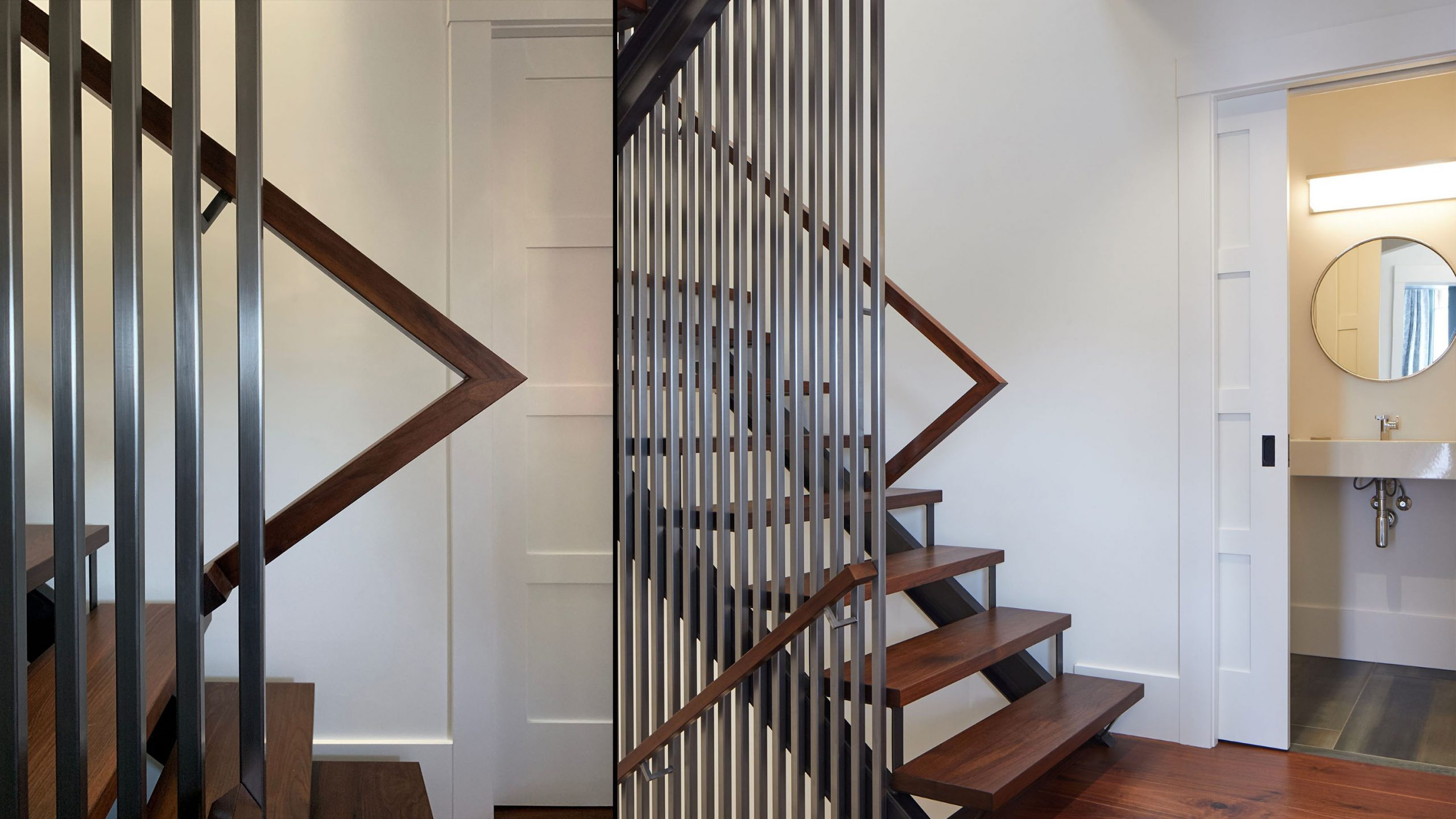 Farmhouse Interior Design Sonoma County 3 metal and wood staircase in home remodel