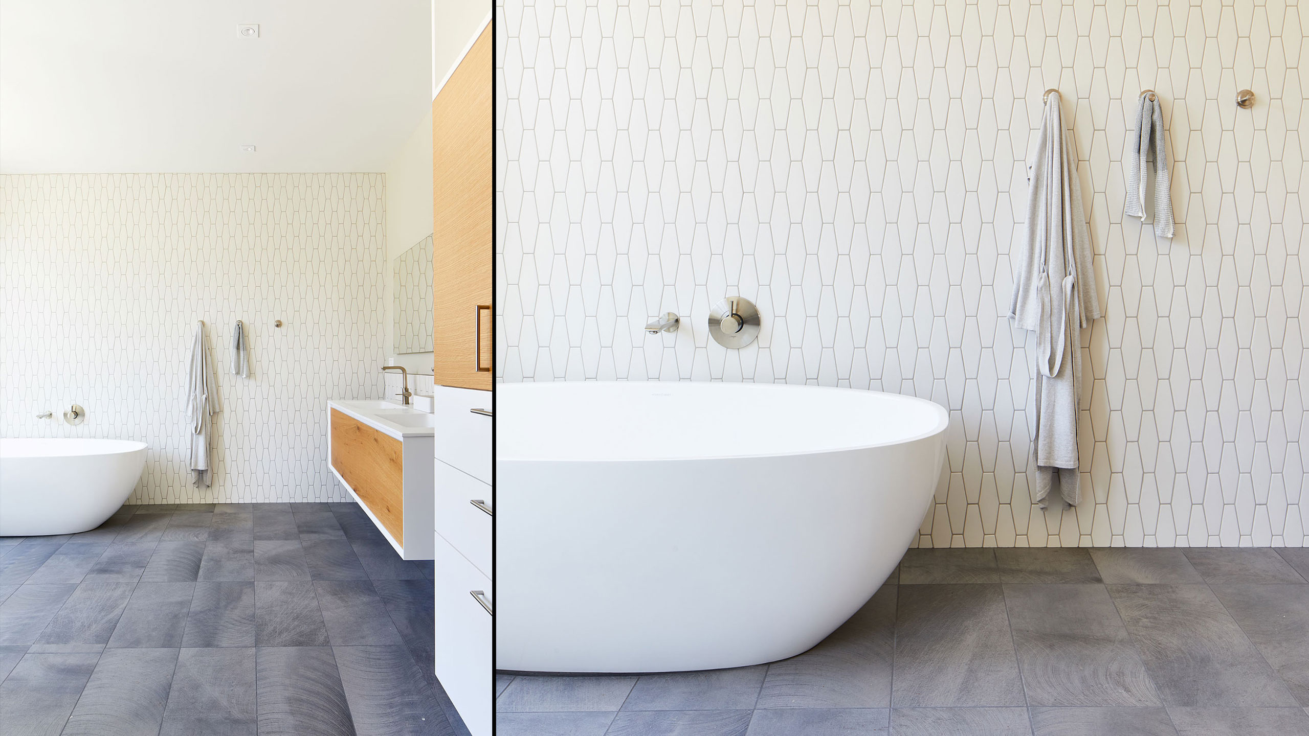 Farmhouse Interior Design Sonoma County 7 contemporary bathroom with tub grey and white tile