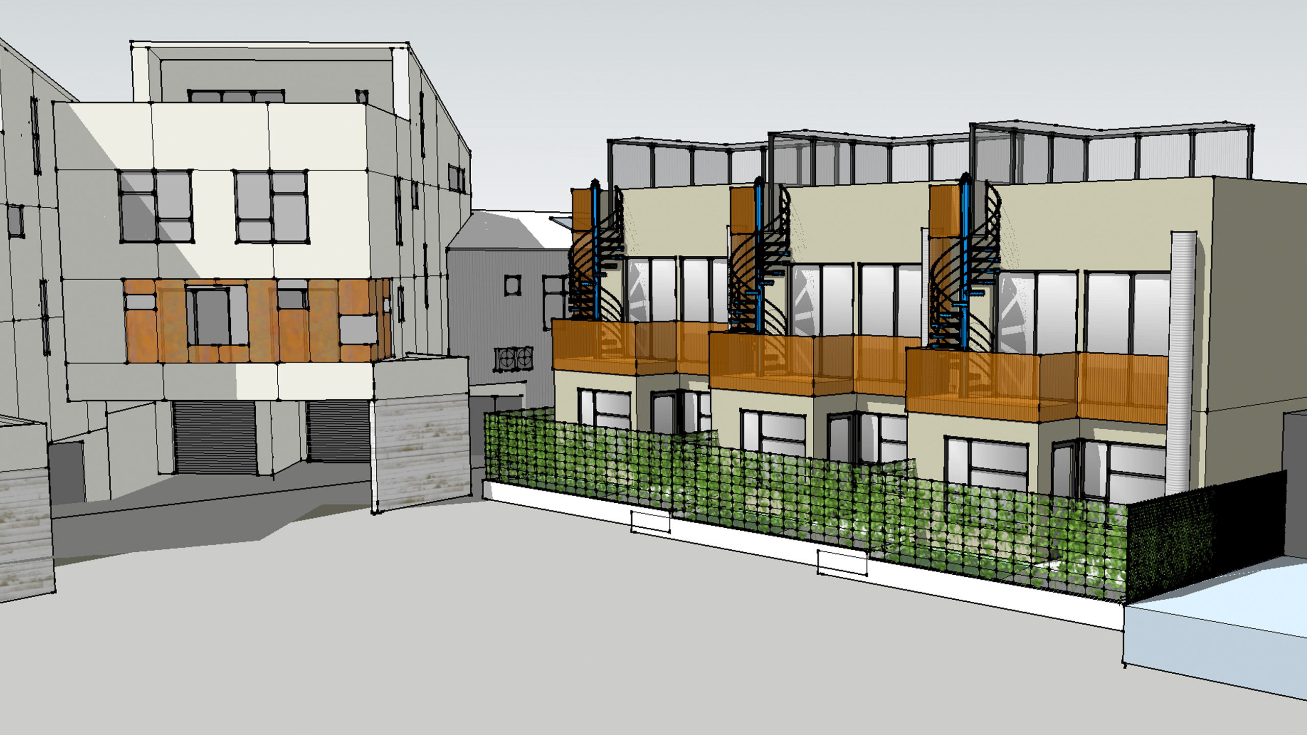 Modern-Multifamily-Sonoma-County-access-to-roof-terrace