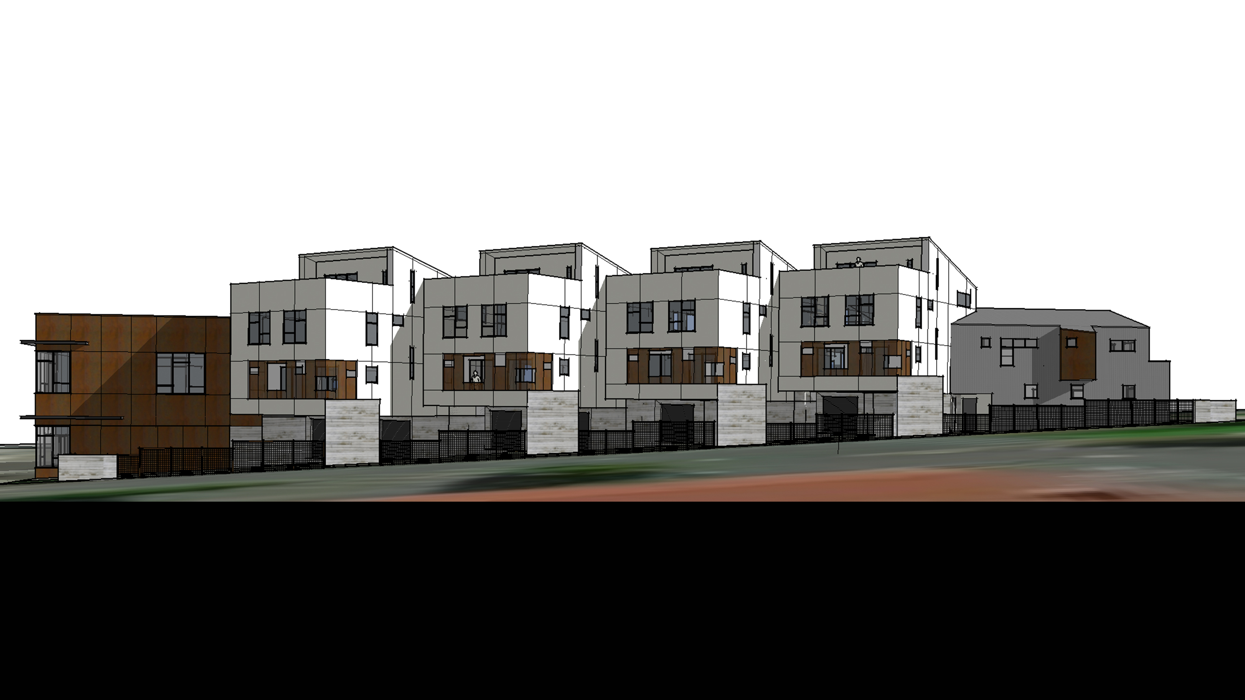 Net-Zero-Multifamily-Sonoma-County-Liberty-Lofts-10-units-exterior-view-with-corten-steel-siding