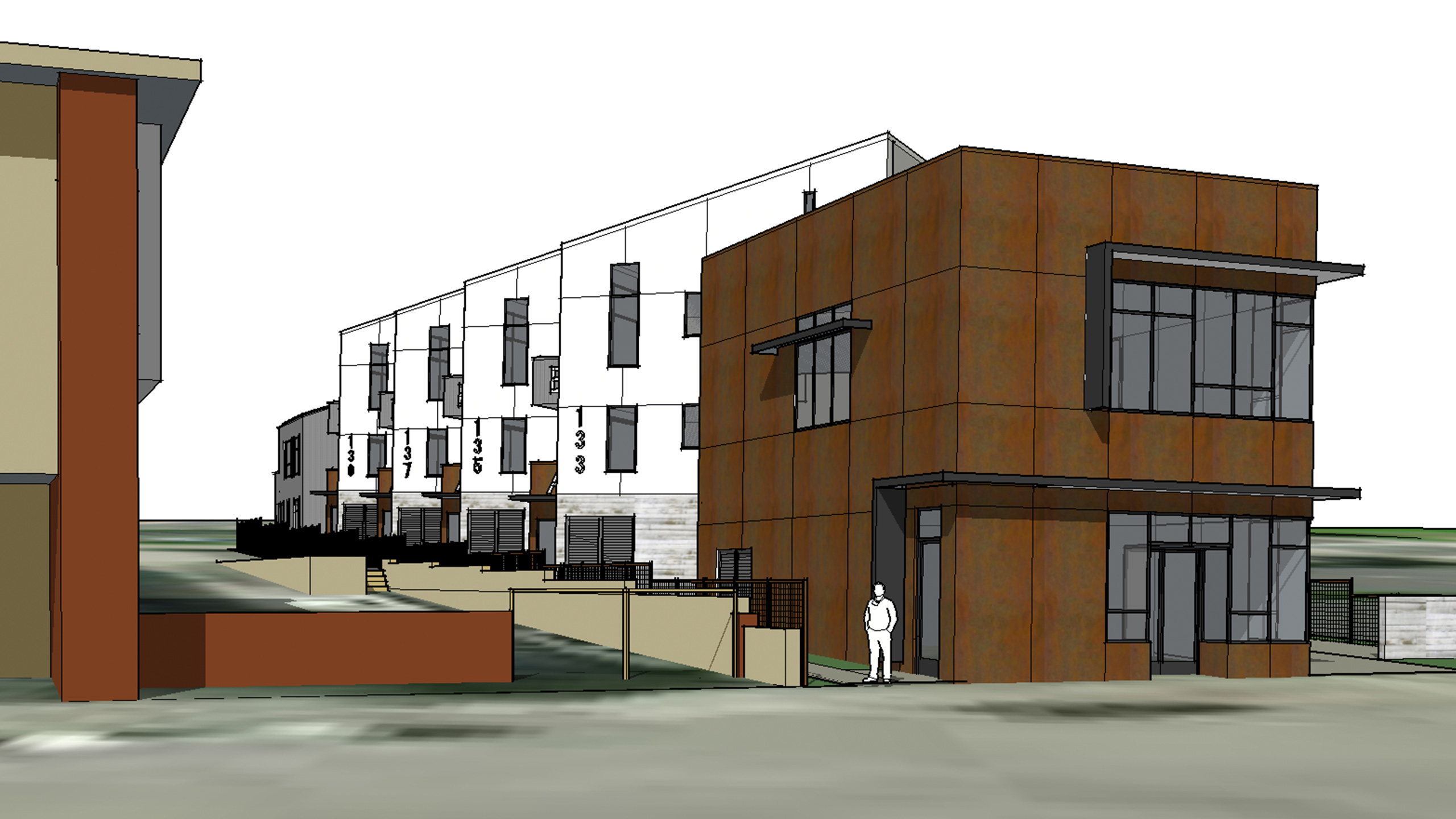 Net-Zero-Multifamily-Sonoma-County-Liberty-Lofts-10-units-modern-architecture-with-corten-steel-siding