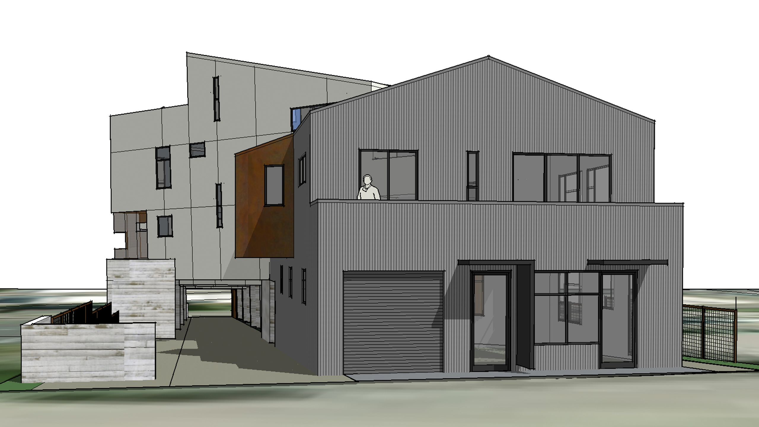 Net-Zero-Multifamily-Sonoma-County-Liberty-Lofts-modern-house-with-corrugated-metal-facade