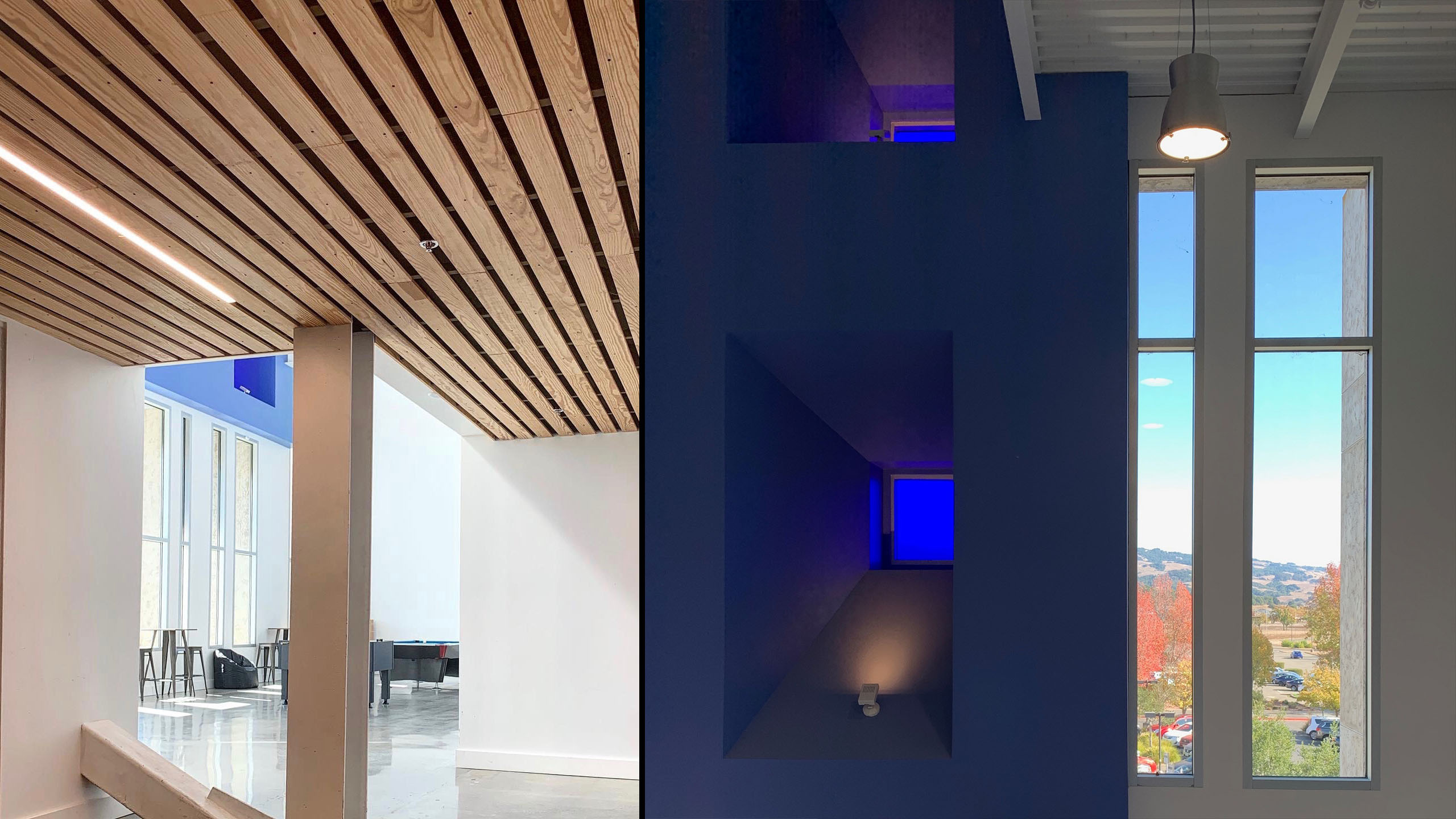 SOMO Blue Room Commercial Design Rohnert Park 5 Wood Ceiling
