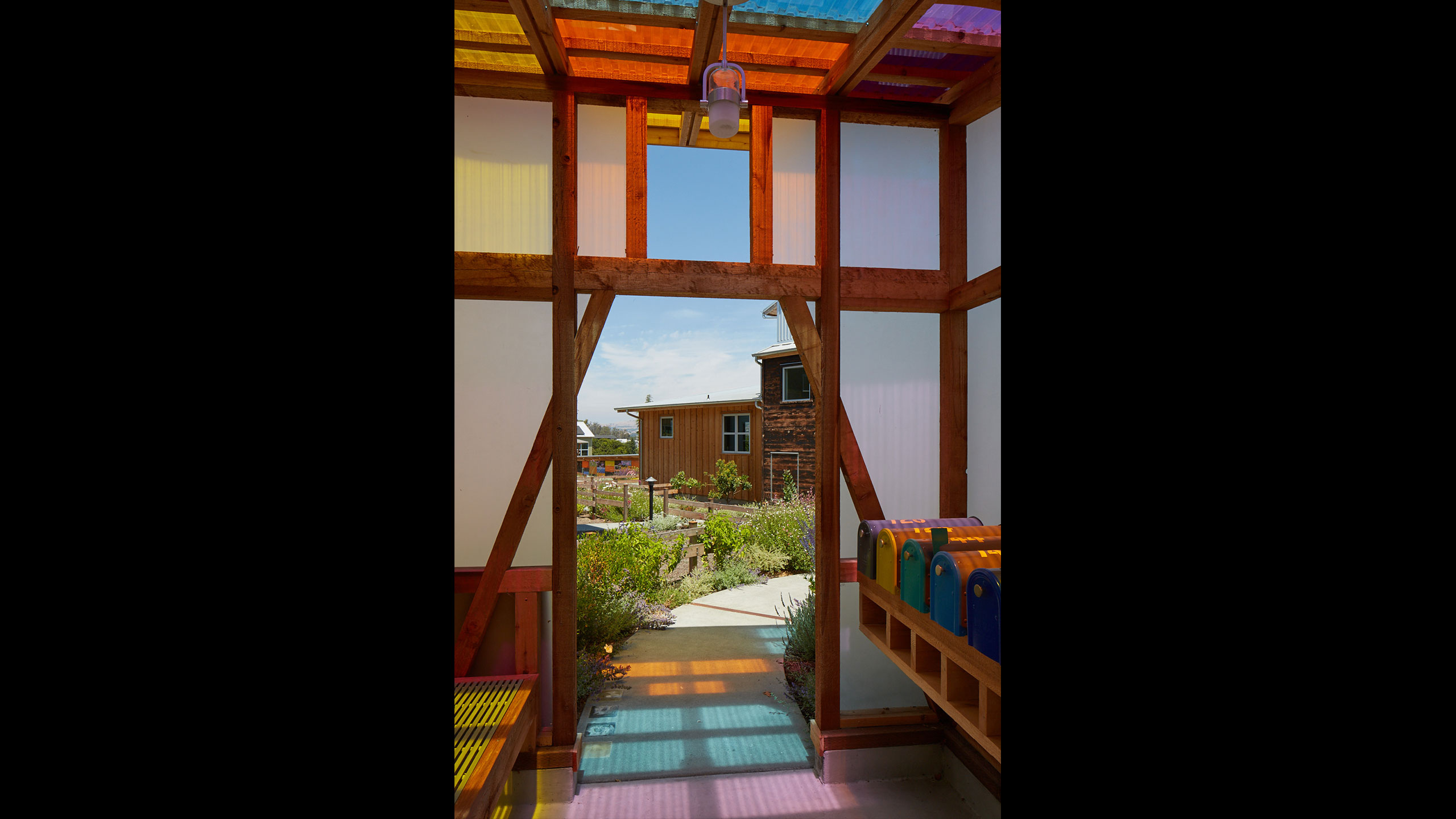 Sustainable-Architecture-Sonoma-County-Keller-Court-entrance-to-Courtyard-and-mailboxes