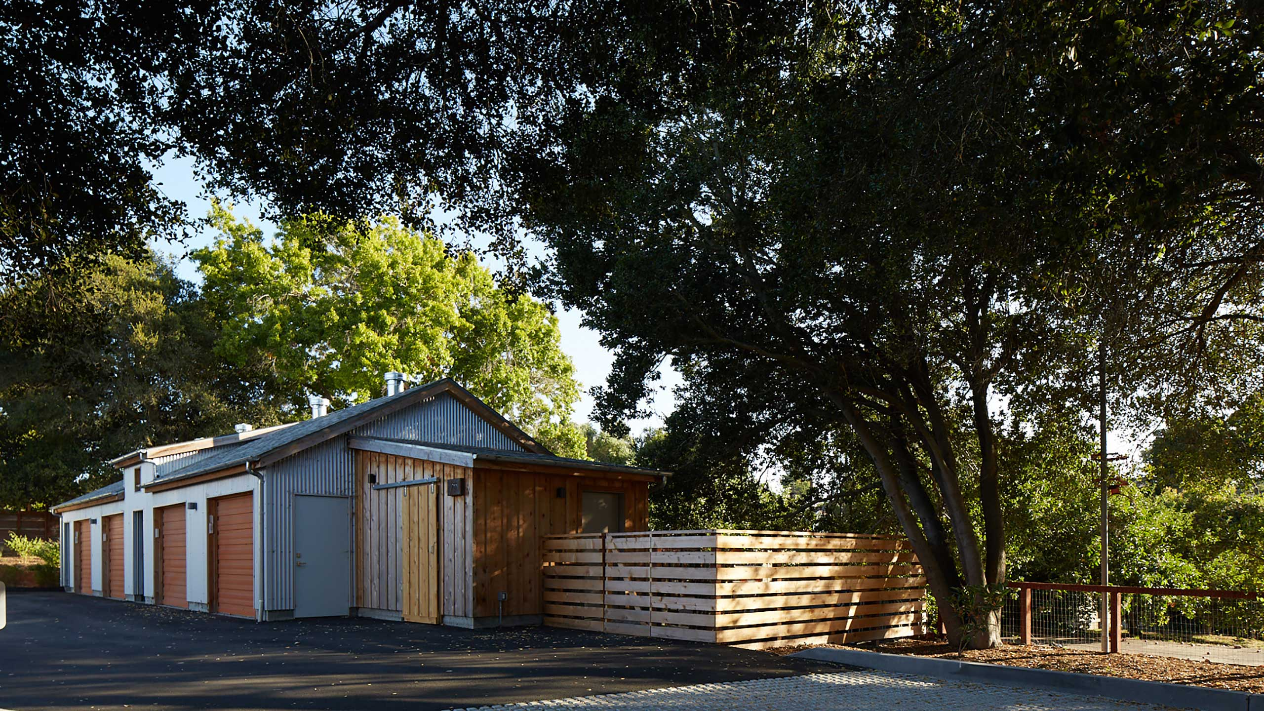Sustainable-Architecture-Sonoma-County-Keller-Court-garages-with-corrugated-metal-siding