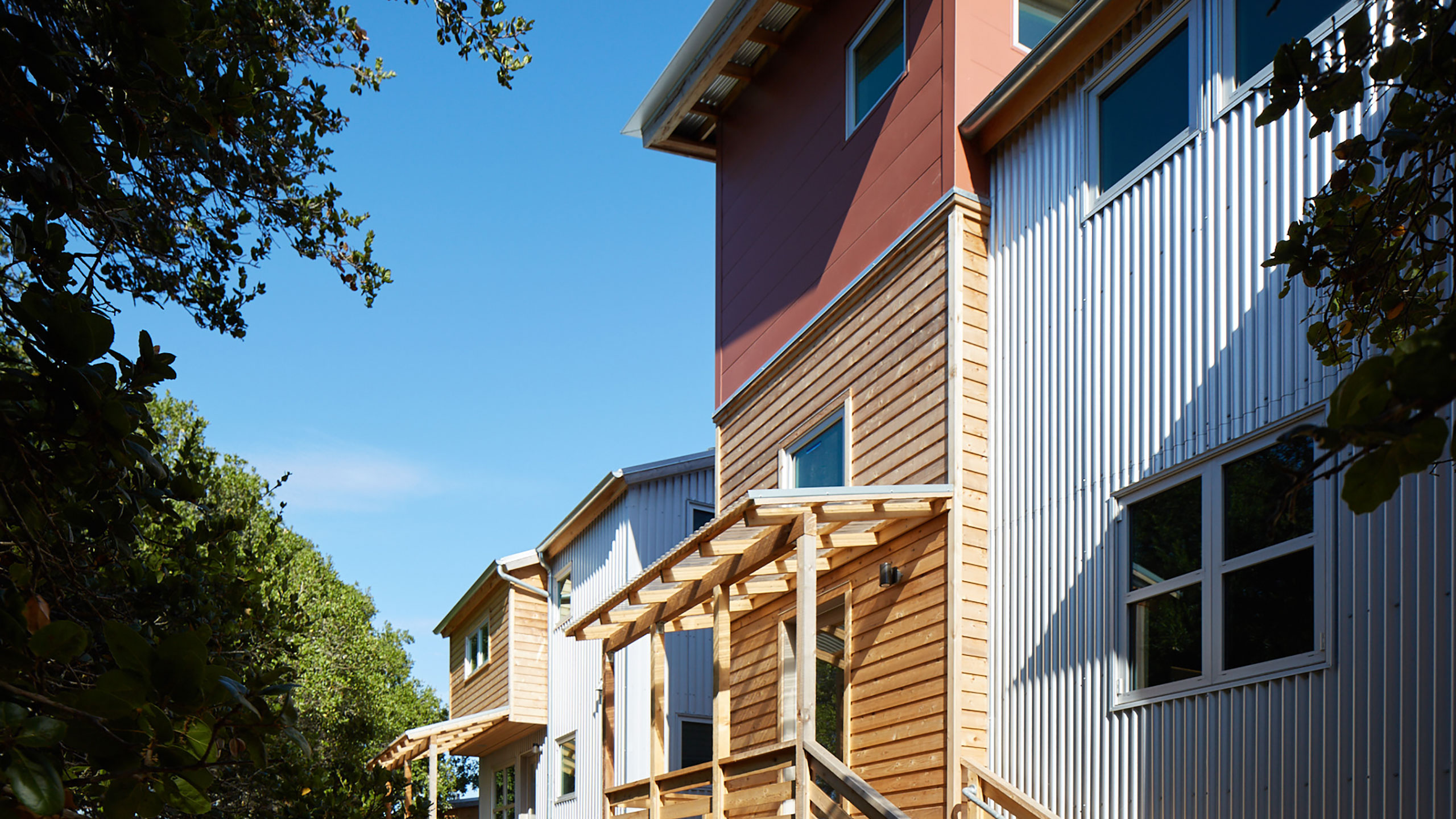 Sustainable-Architecture-Sonoma-County-Keller-Court-wood-siding-corrugated-metal-siding