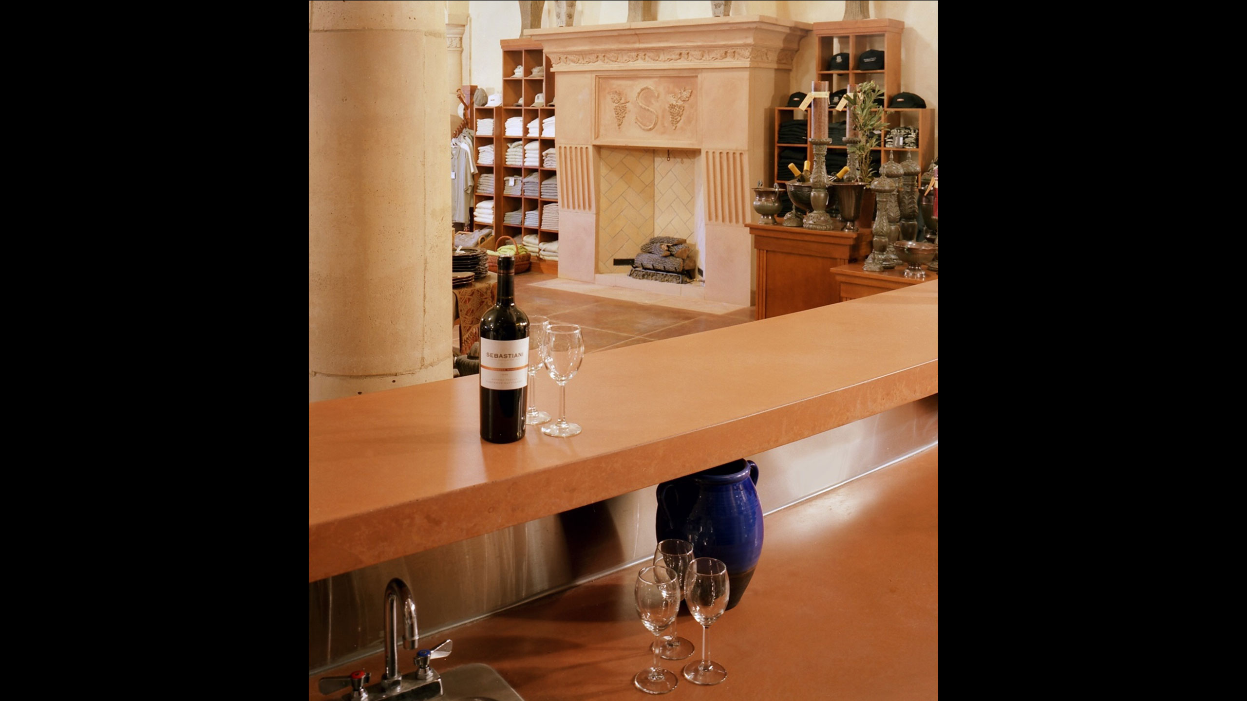 Winery-Architecture-Sonoma-Sebastiani-tasting-room-with-classic-fireplace