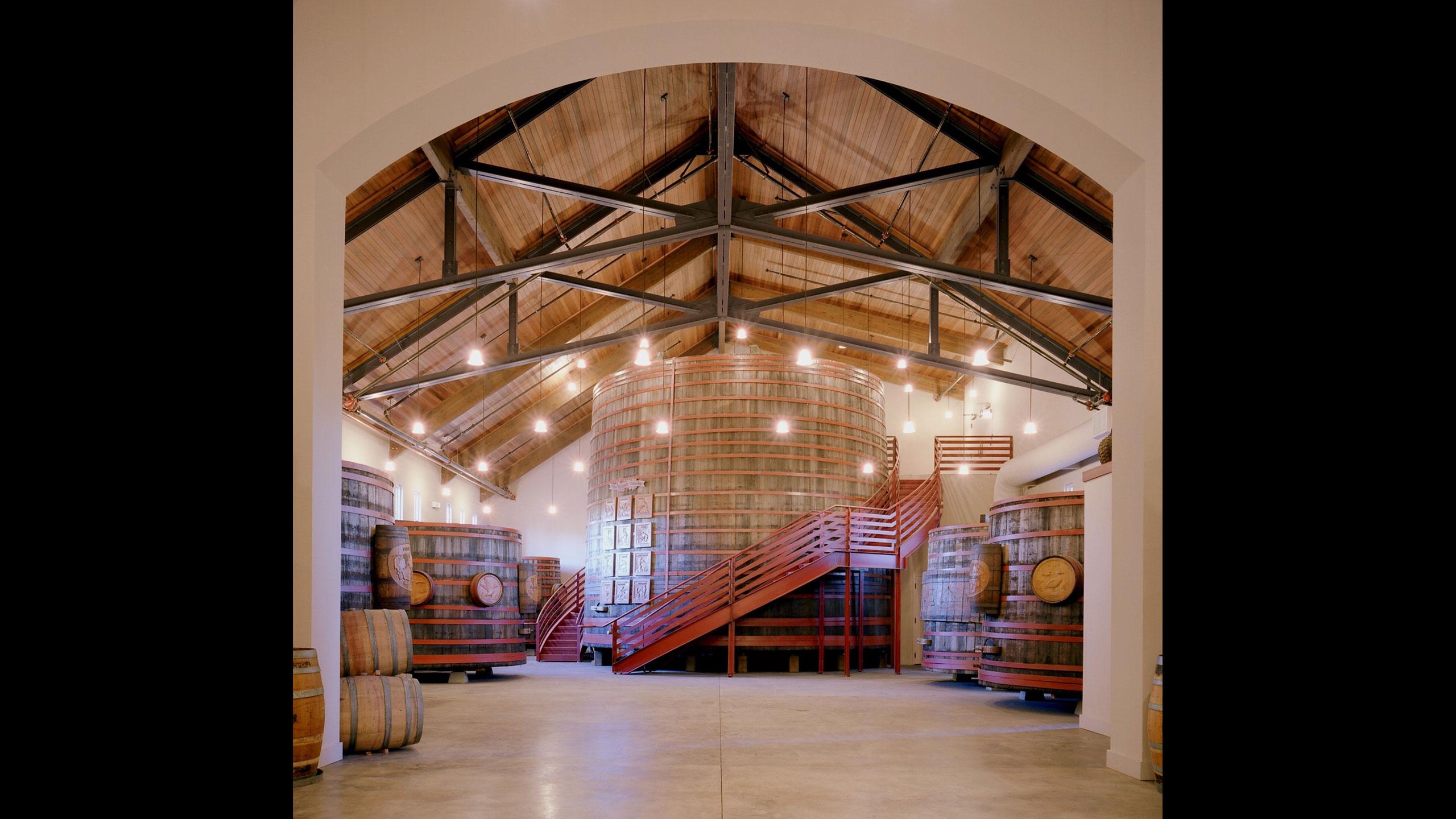 Winery-Architecture-Sonoma-Sebastiani-wine-barrel