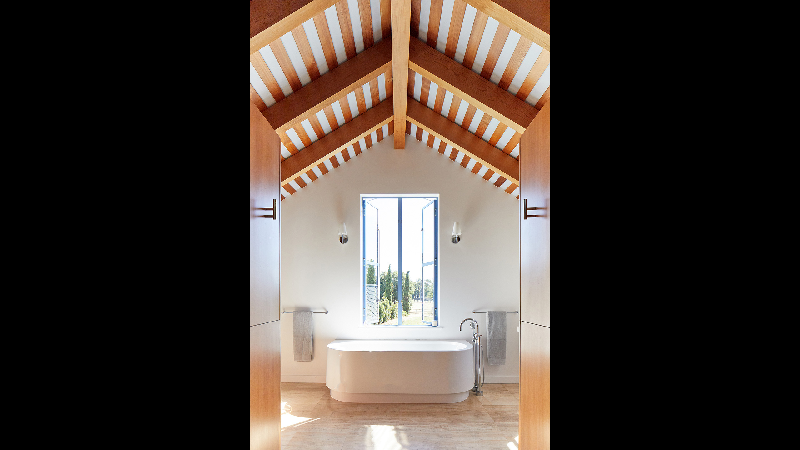 Napa-Farmhouse-bathroom-with-freestanding-tub-and-view