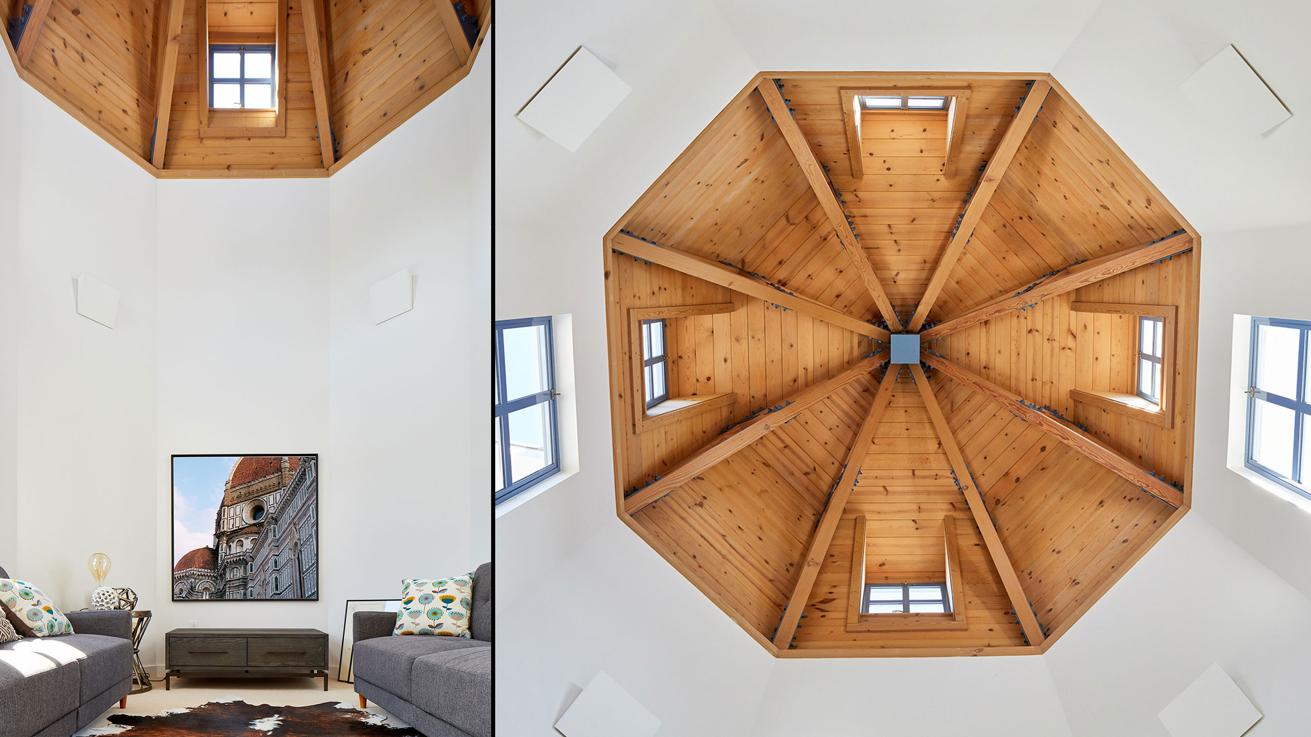 Napa-Farmhouse-round-room-in-tower-with-wood-ceiling